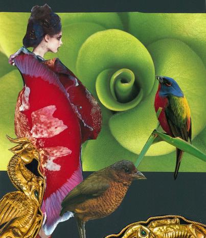 Geisha au manteau rouge (collage papier)